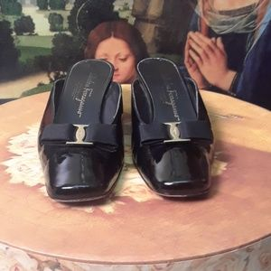 Salvatore Ferragamo black patent leather slip-ons